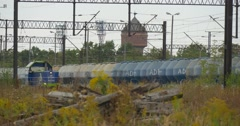 Blue Special Rolling Stock Moves On The Railway Long Cargo Train Stands On The Stock Footage