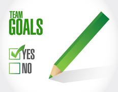 Team goals approve check sign concept Stock Illustration