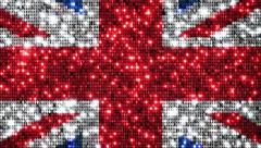 UK flag animation. Sequins. Loopable from frame 300 to frame 599. Zoom out. - stock footage