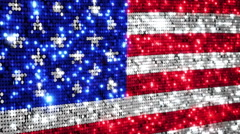 American flag. Sequins. Loopable from frame 300 to frame 599. Zoom out. Stock Footage