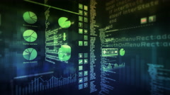 Financial data and growing charts. Mulitcolored. Loopable. 2 videos in 1 file. Stock Footage