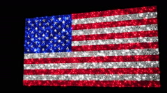 United States flag. Sequins. Loopable from frame 300 to frame 599. Zoom out. Stock Footage