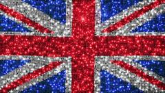 British flag. Sequins. Loopable from frame 300 to frame 599. Zoom out. - stock footage