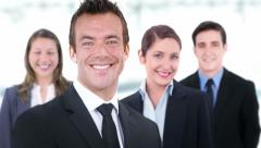 Business team. 2 in 1. Confident group of business people smiling. Stock Footage