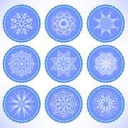 Winter Snow Labels - stock illustration