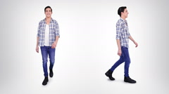Casual young man walking. Alpha matte. 2 in 1. Lateral and frontal view. - stock footage