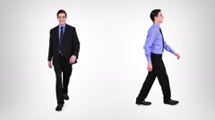 Handsome businessman walking with alpha matte. 2 in 1. Stock Footage