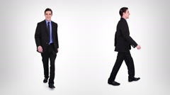 Businessman walking with alpha matte. 2 in 1. Lateral and frontal view. - stock footage