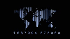Education on the world map with barcode (quality of education) Stock Footage