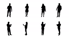 People silhouettes talking on the phone or using a digital tablet.  8 in 1. Stock Footage