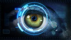 Human eye with futuristic interface. 2 in 1. Green. Blue skin. Loopable. Stock Footage