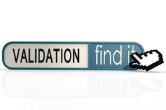 Validation word on the blue find it banner - stock illustration