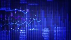 Financial data and growing charts. 3 in 1. Blue, green and white. Stock Footage