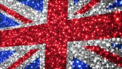 UK flag. Sequins. Loopable from frame 300 to frame 599. - stock footage