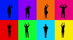 Full length people clapping and cheering. 8 in 1. Multicolored. Stock Footage