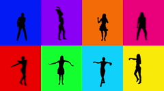 Young women dancing. 8 in 1.  Multicolored. More options in my portfolio. Stock Footage