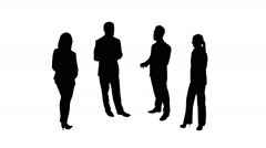 Business silhouttes. 4 in 1. Business people talking. More options in my Stock Footage