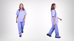 Surgeon walking. 2 in 1. Alpha Matte. Lateral and frontal view. Stock Footage