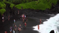 Black Sand Beach at Waianapanapa State Park, Maui Stock Footage