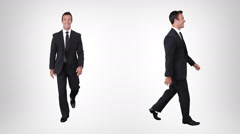 Businessman walking. Alpha matte. 2 in 1. Lateral and frontal view. Stock Footage