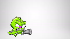 Classic animated monster shooting different guns. 2 in 1. Loopable. Luma matte. Stock Footage