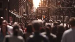 Busy Manhattan street, full of tourist and business people. New York City. - stock footage
