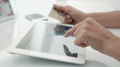 Business people using electronic devices to buy on the internet. Dolly. 4 in 1. Stock Footage