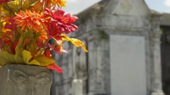 bouquet of flowers and crypt at Lafayette cemetery - stock footage