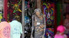 Zombie mummy puppet in New Orleans shop Stock Footage