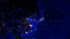 World connections. Asia. Locked. Blue. Stock Footage
