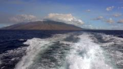 Wake of Dive Boat in Hawaii as It Leaves Maui Stock Footage