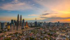 Beautiful sunset timelapse of Kuala Lumpur Stock Footage