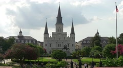 St. Louis Cathedral with Jackson statue Stock Footage
