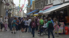Tourists on the main street in Boulogne Sur Mer France Stock Footage