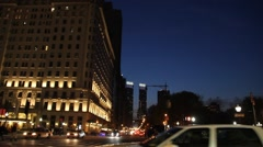 Central Park South and Plaza at Night Stock Footage