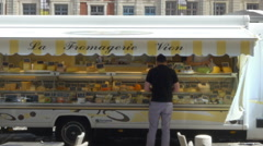 Cheese vendor - Arras France Stock Footage