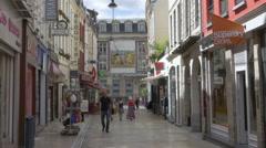 Pedestrian shopping street - Arras France Stock Footage