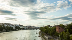 Basel city skyline and river  in the evening hyperlapse timelapse Stock Footage
