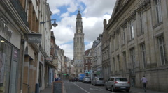 Looking towards the town hall clock tower - Arras France Stock Footage