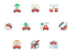Flat simple icons for car insurance service - stock illustration