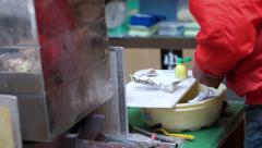 Video of chef opening of oysters at in fish market Stock Footage