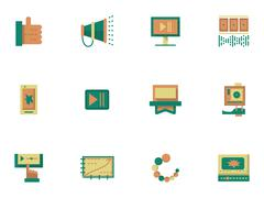 Stock Illustration of Flat simple icons for video blogging