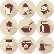 Lunch brown flat style vector icons set - stock illustration