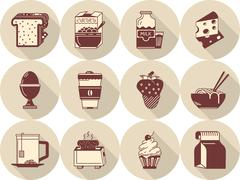 Morning menu flat brown vector icons - stock illustration