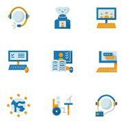 Flat simple vector icons for education online - stock illustration