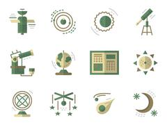 Flat simple vector icons for Astronomy Stock Illustration