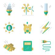 Flat simple vector icons for saving energy - stock illustration