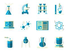 Flat simple vector icons for science. Chemistry - stock illustration