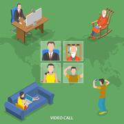 Stock Illustration of Video call isometric flat vector concept.