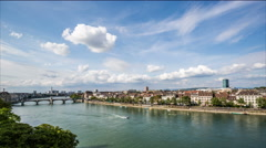 Basel skyline with, river, waterfront, sky and clouds timelapse Stock Footage